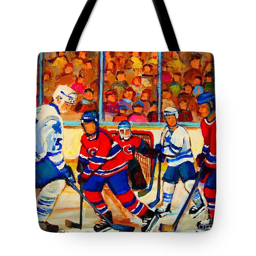 Hockey Tote Bag featuring the painting Olympic Hockey Hopefuls Painting By Montreal Hockey Artist Carole Spandau by Carole Spandau
