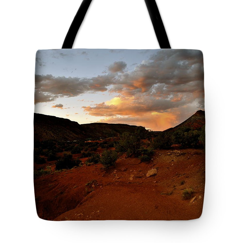 New Mexico Tote Bag featuring the photograph Evening Colors by Wendy Girard