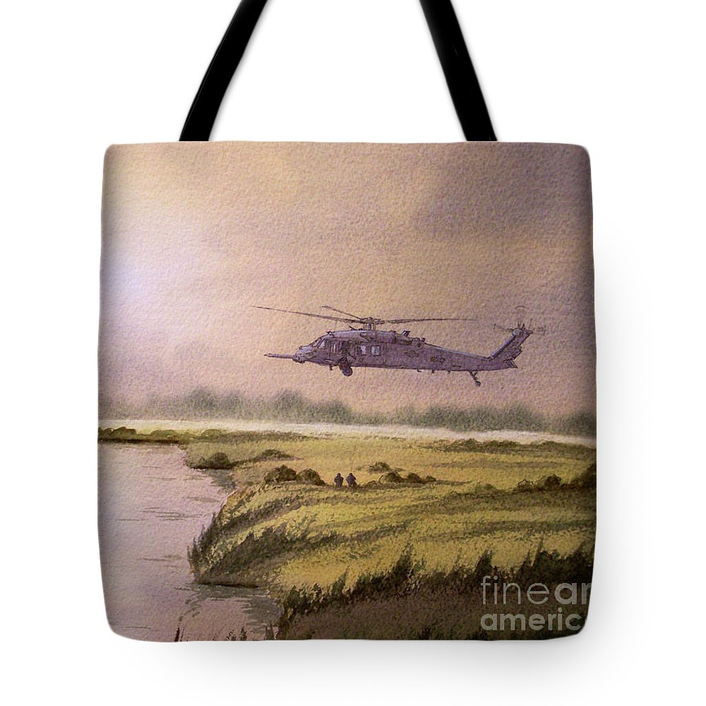 Helicopter Tote Bag featuring the painting On A Mission - Hh60g Helicopter by Bill Holkham