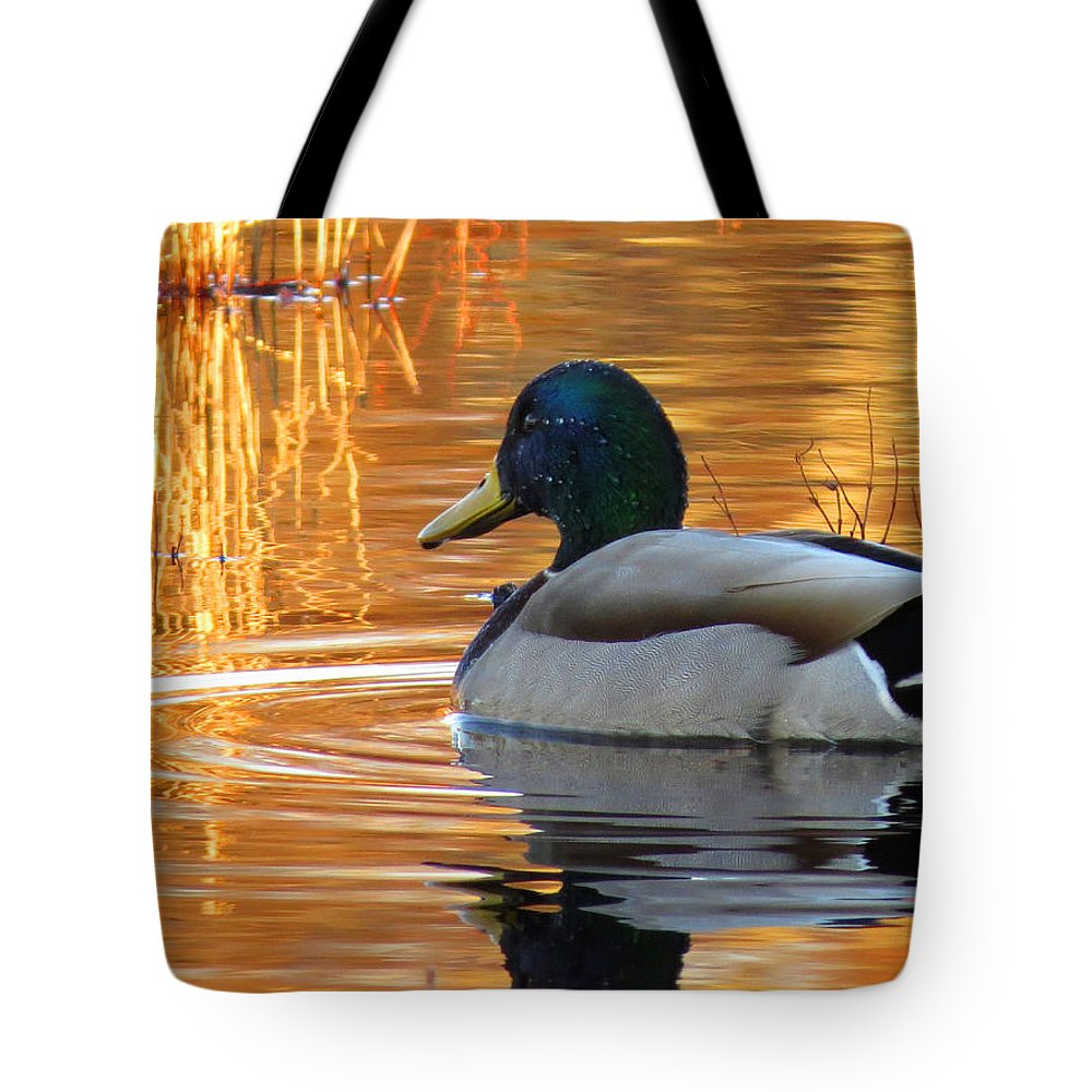 Mallard Tote Bag featuring the photograph On Golden Pond by Dianne Cowen