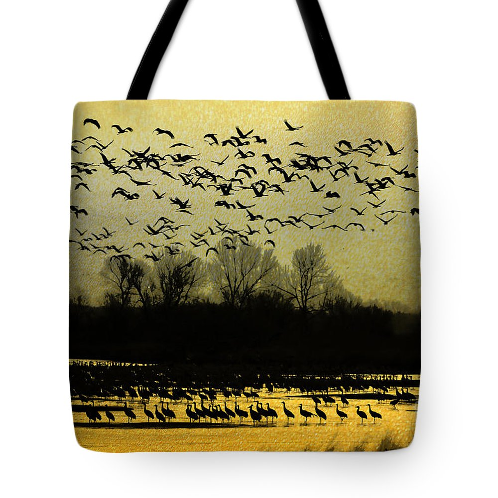 Sandhill Cranes Tote Bag featuring the photograph On Golden Pond by Elizabeth Winter