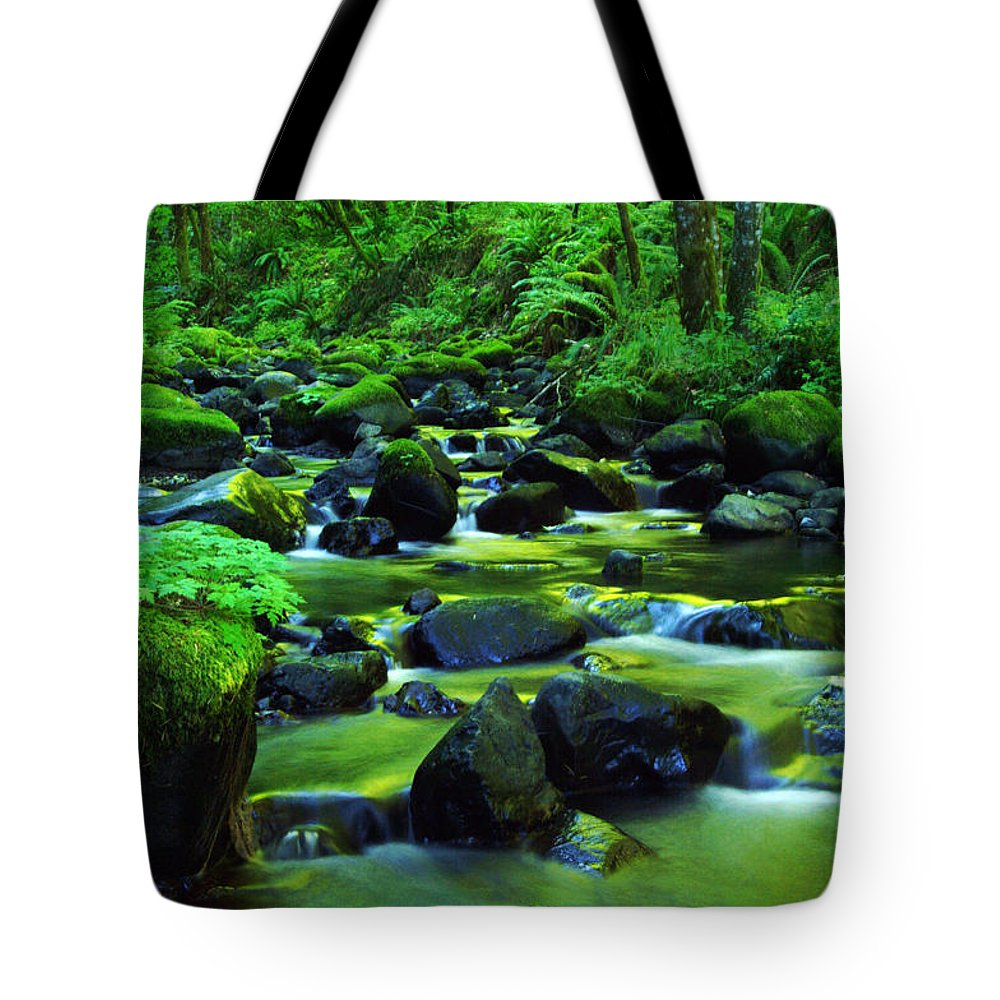 Oregon Streams Tote Bag featuring the photograph On Golden Waters by Jeff Swan