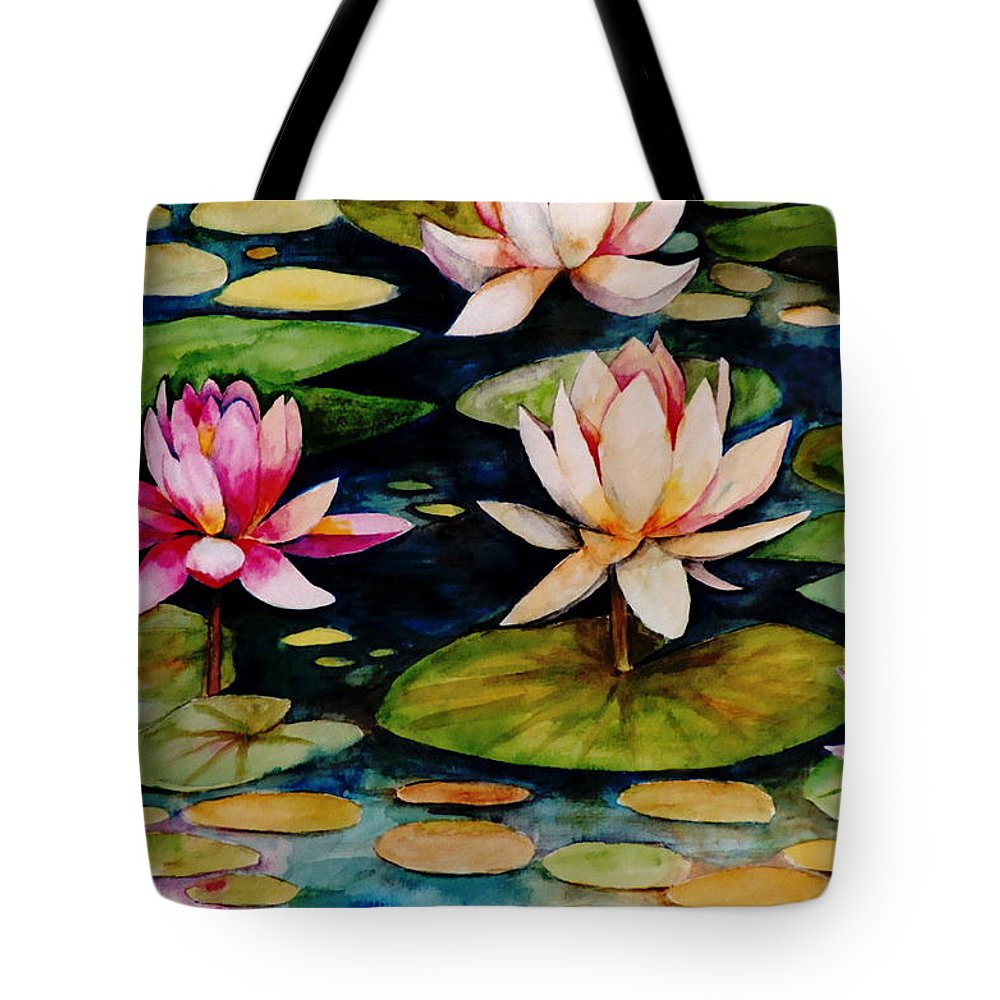 Lily Tote Bag featuring the painting On Lily Pond by Jun Jamosmos