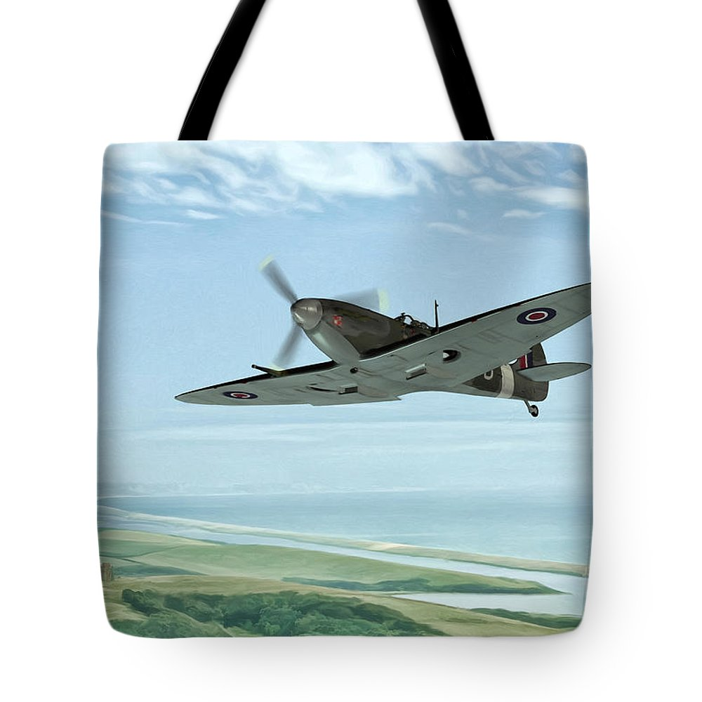 Air Tote Bag featuring the painting Spitfire On Patrol by John Edwards