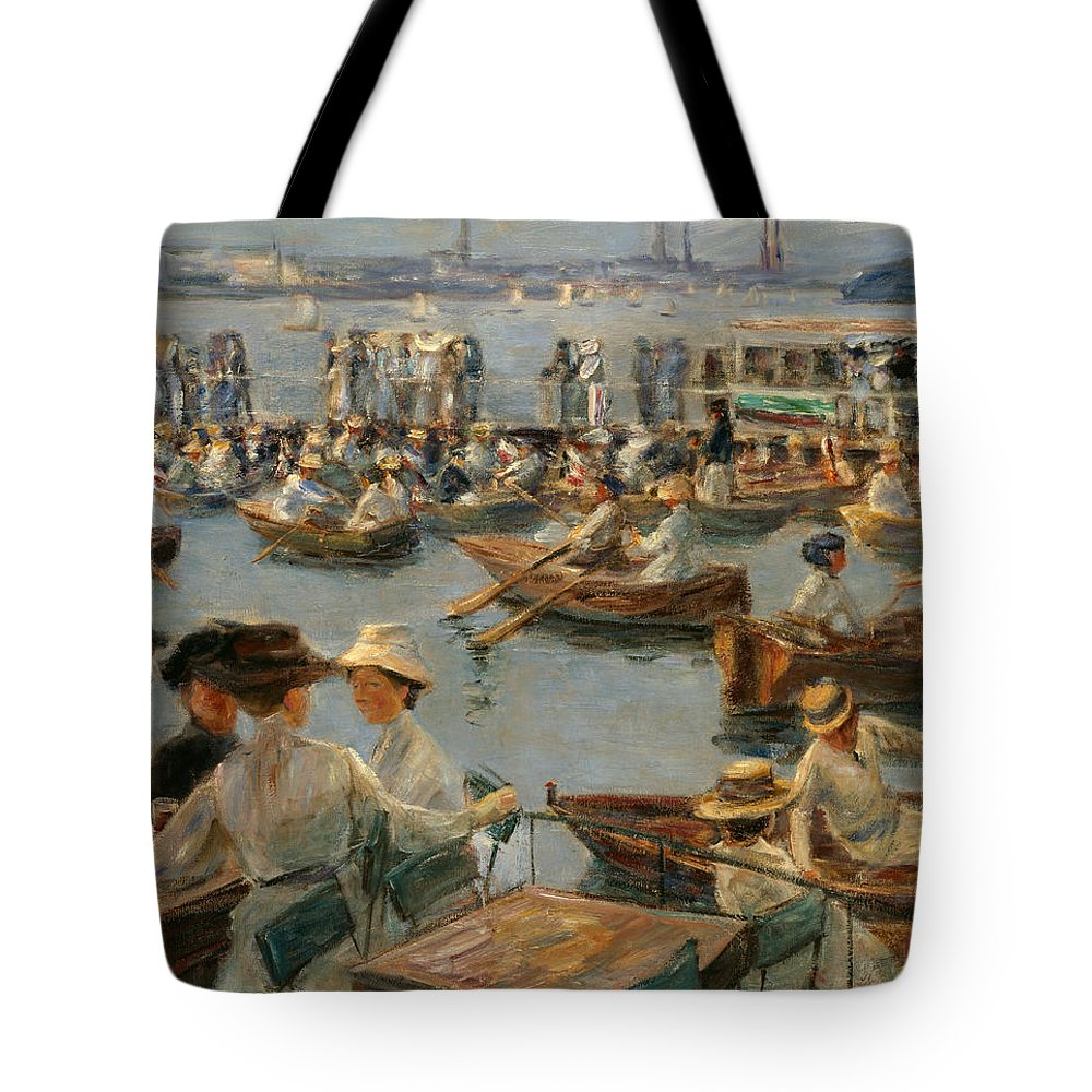 Max Liebermann Tote Bag featuring the painting On The Alster In Hamburg by Max Liebermann