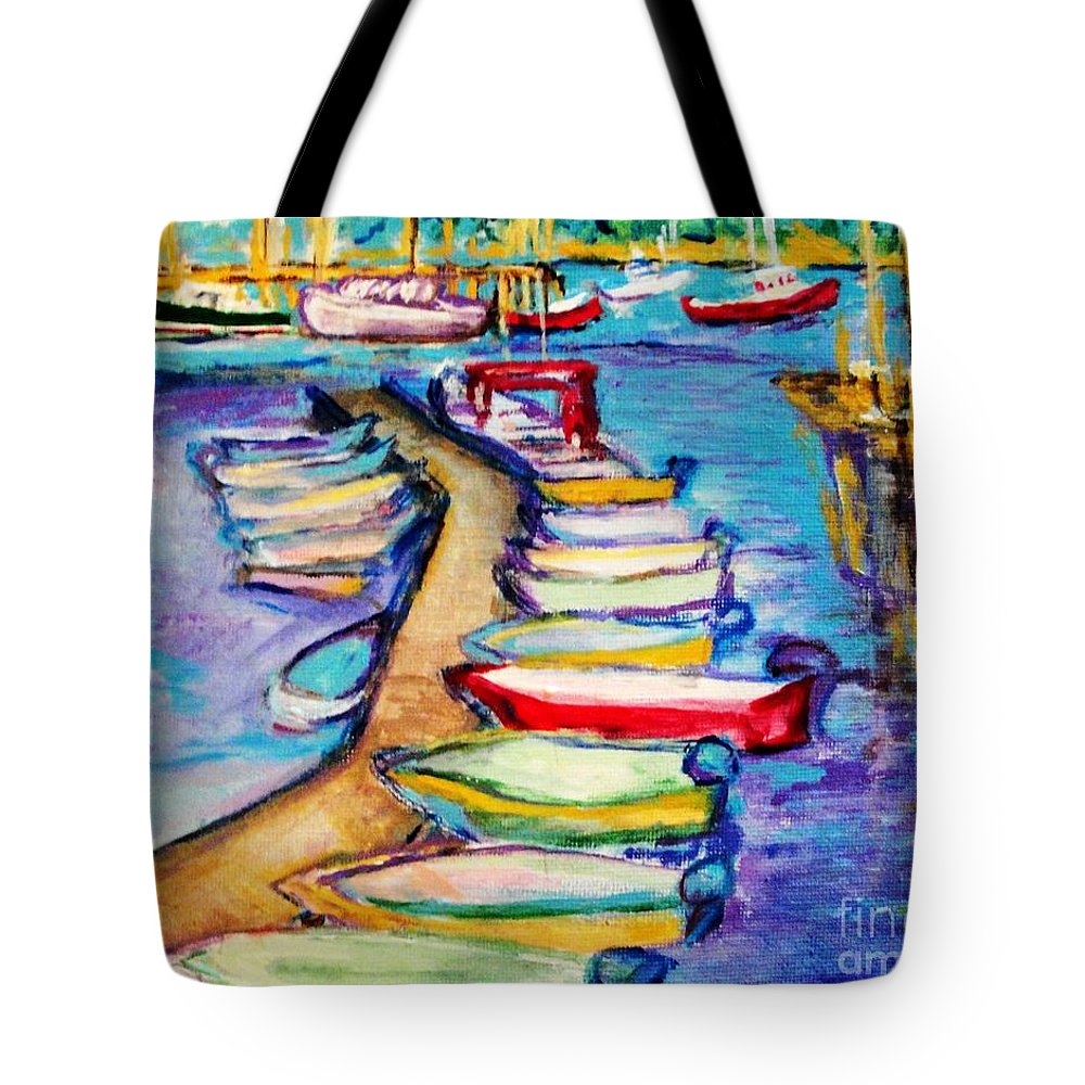 Sailboard Tote Bag featuring the painting On The Boardwalk by Helena Bebirian