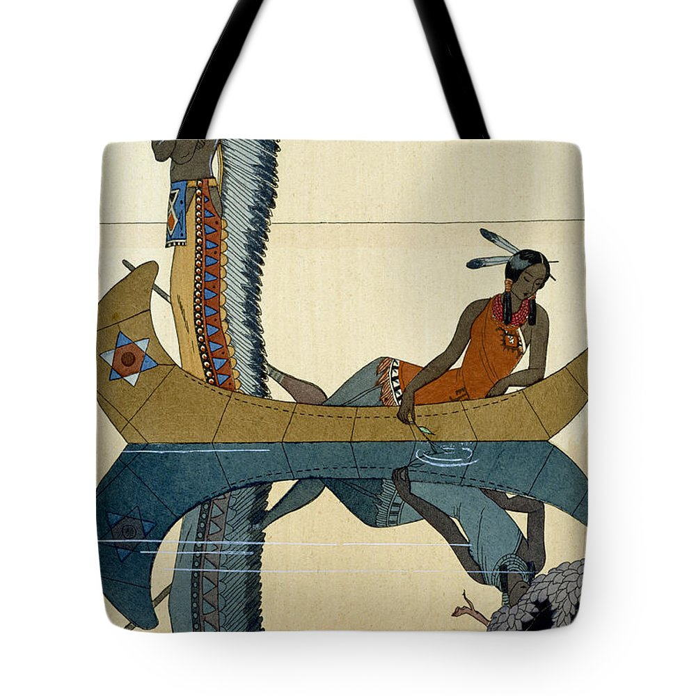 Le Long Du Missouri Tote Bag featuring the painting On The Missouri by Georges Barbier