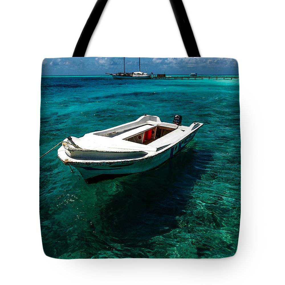 Small Tote Bag featuring the photograph On The Peaceful Waters. Maldives by Jenny Rainbow