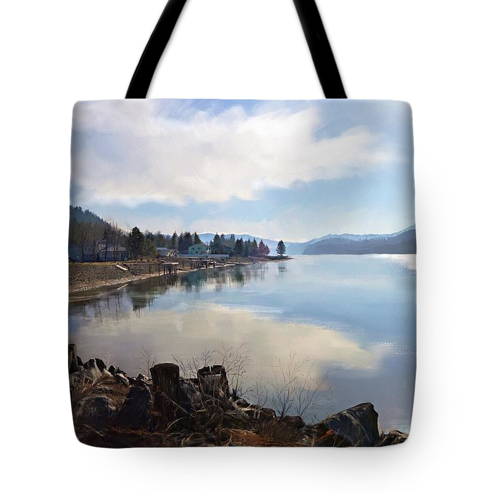 Blue Tote Bag featuring the digital art On The River by Debra Baldwin