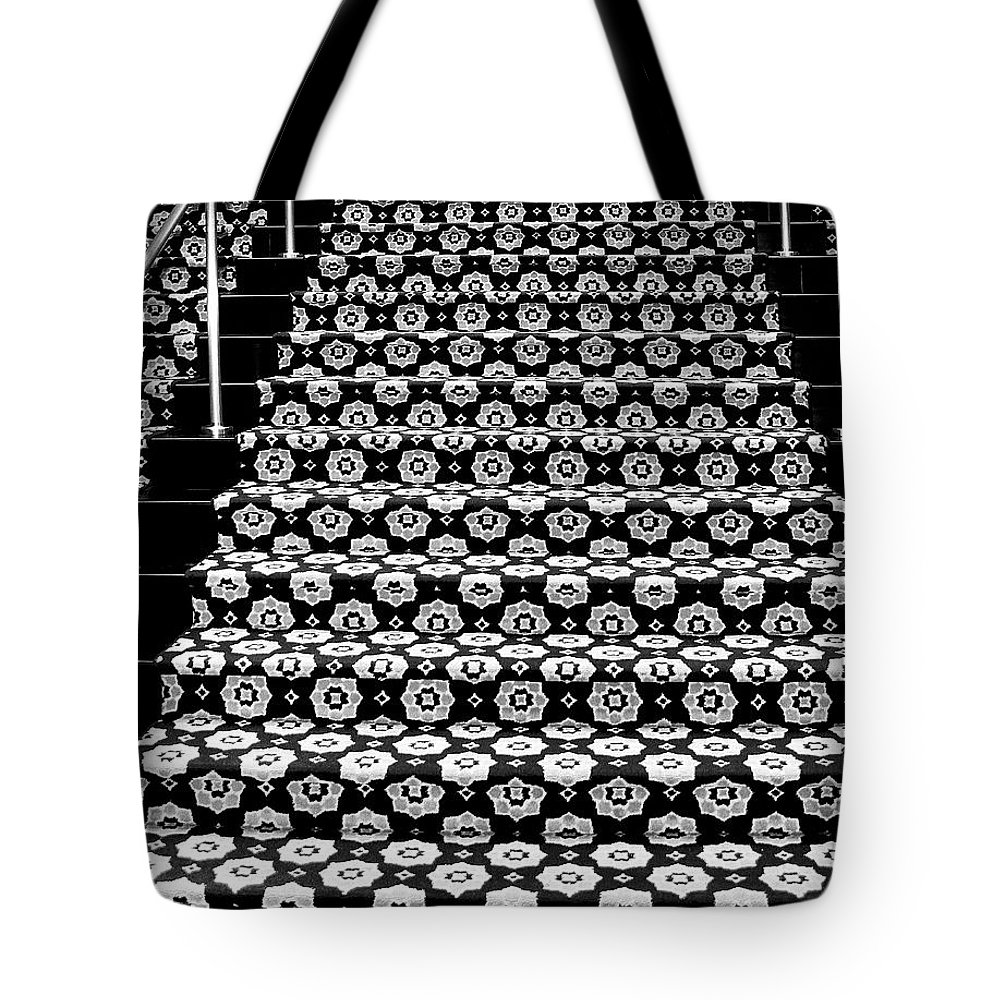 Riviera Hotel Tote Bag featuring the photograph On The Riviera Stairs Palm Springs by William Dey