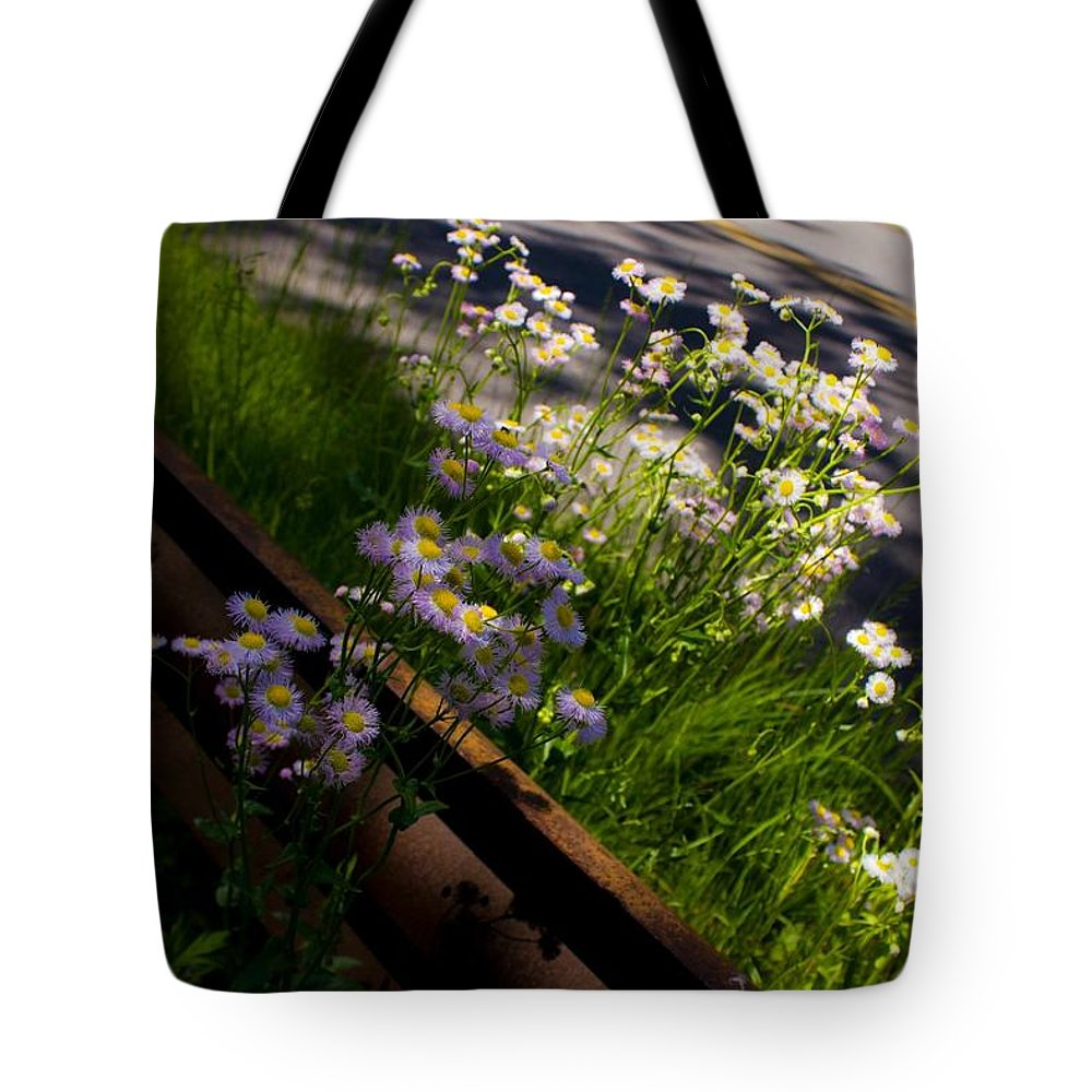 Sunny Tote Bag featuring the photograph On The Road by Kathleen Odenthal