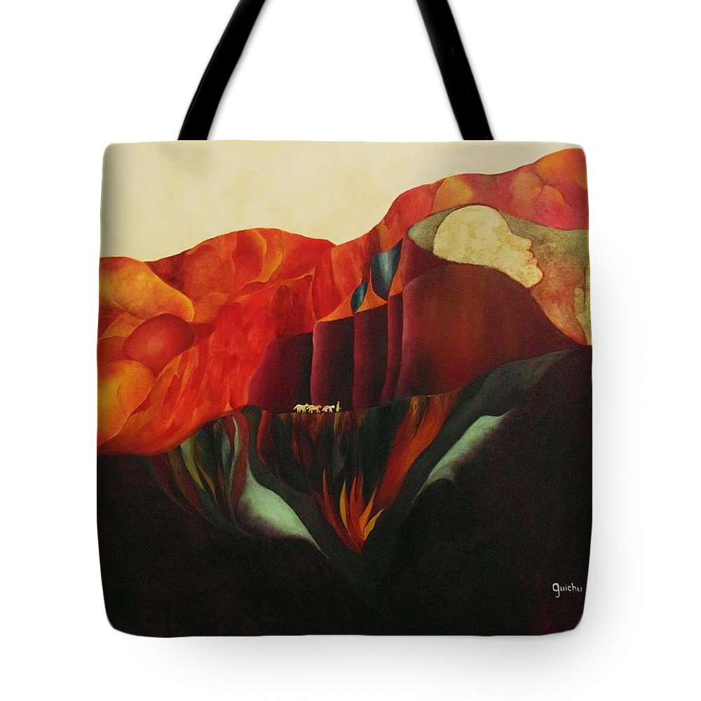 Oil Tote Bag featuring the painting On The Road To Enlightenment by Peggy Guichu