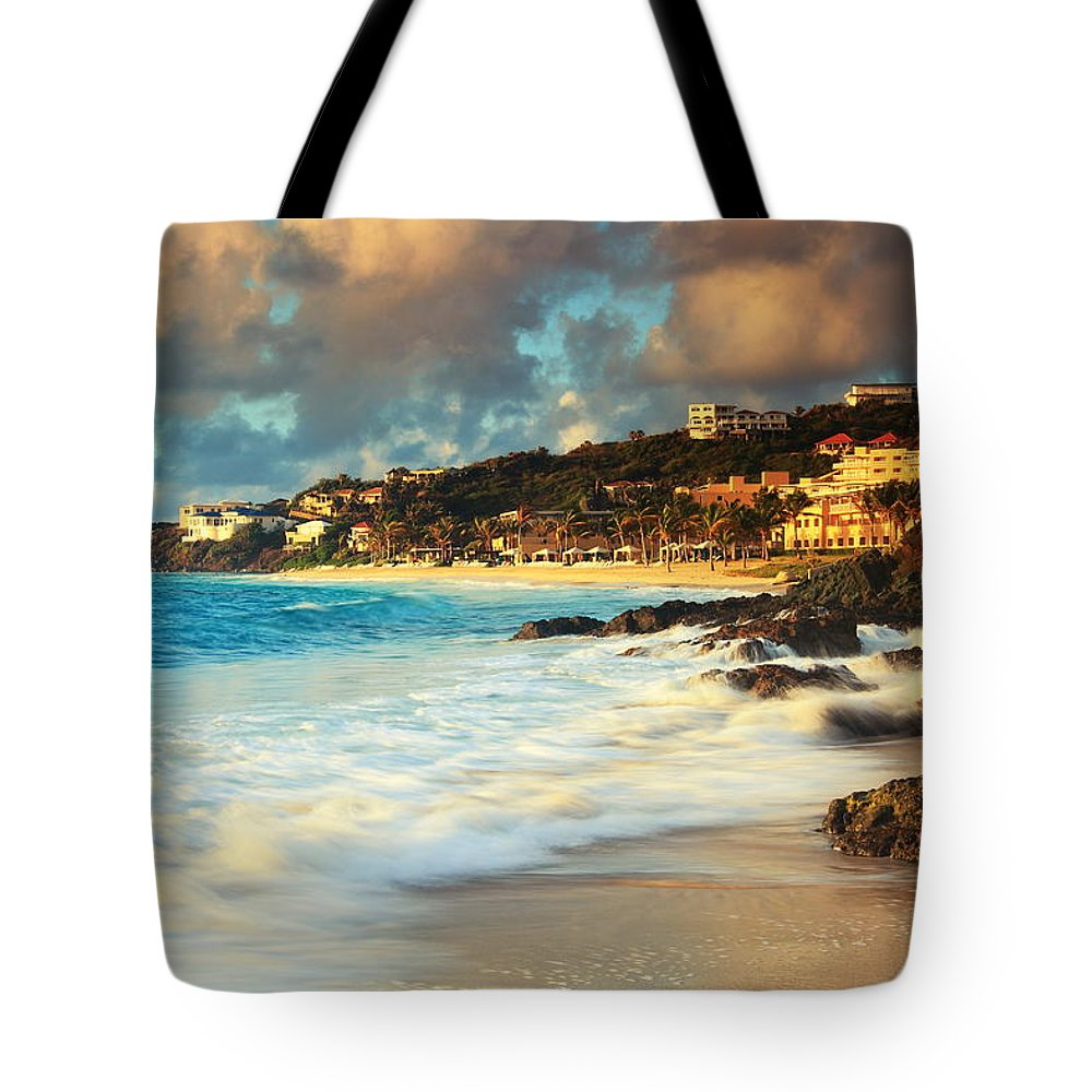 On The Rocks Tote Bag featuring the photograph On The Rocks by Roupen Baker