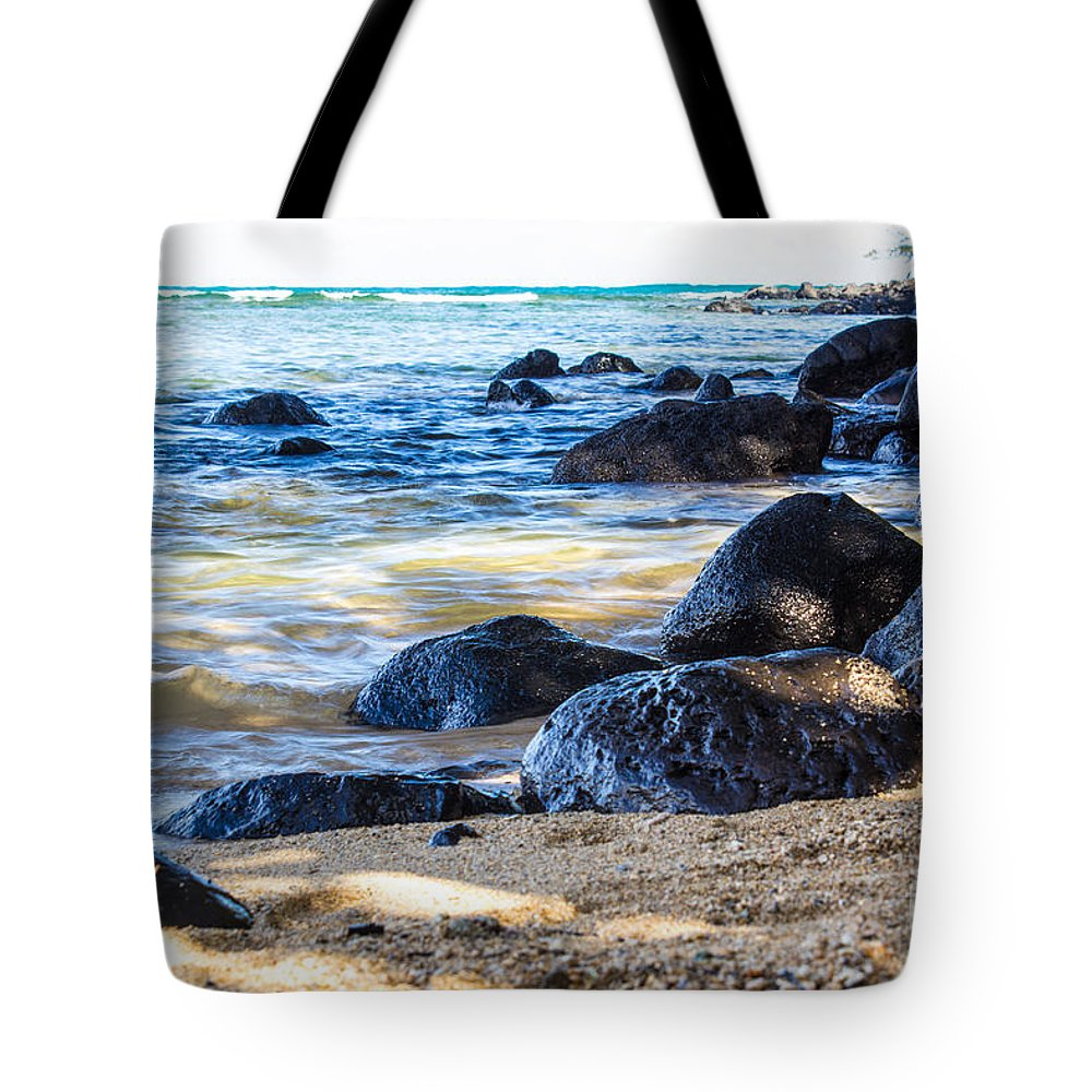 Rocks Tote Bag featuring the photograph On The Rocks by Suzanne Luft