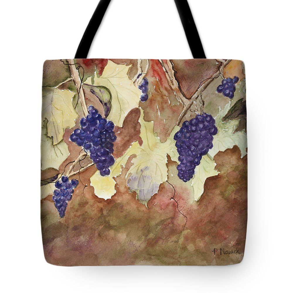 Grapes Tote Bag featuring the painting On The Vine by Patricia Novack