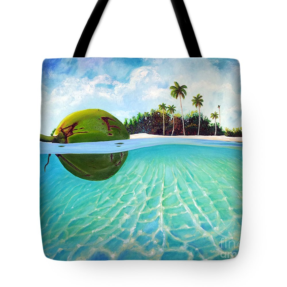 Coconut Tote Bag featuring the painting On The Way by Jose Manuel Abraham