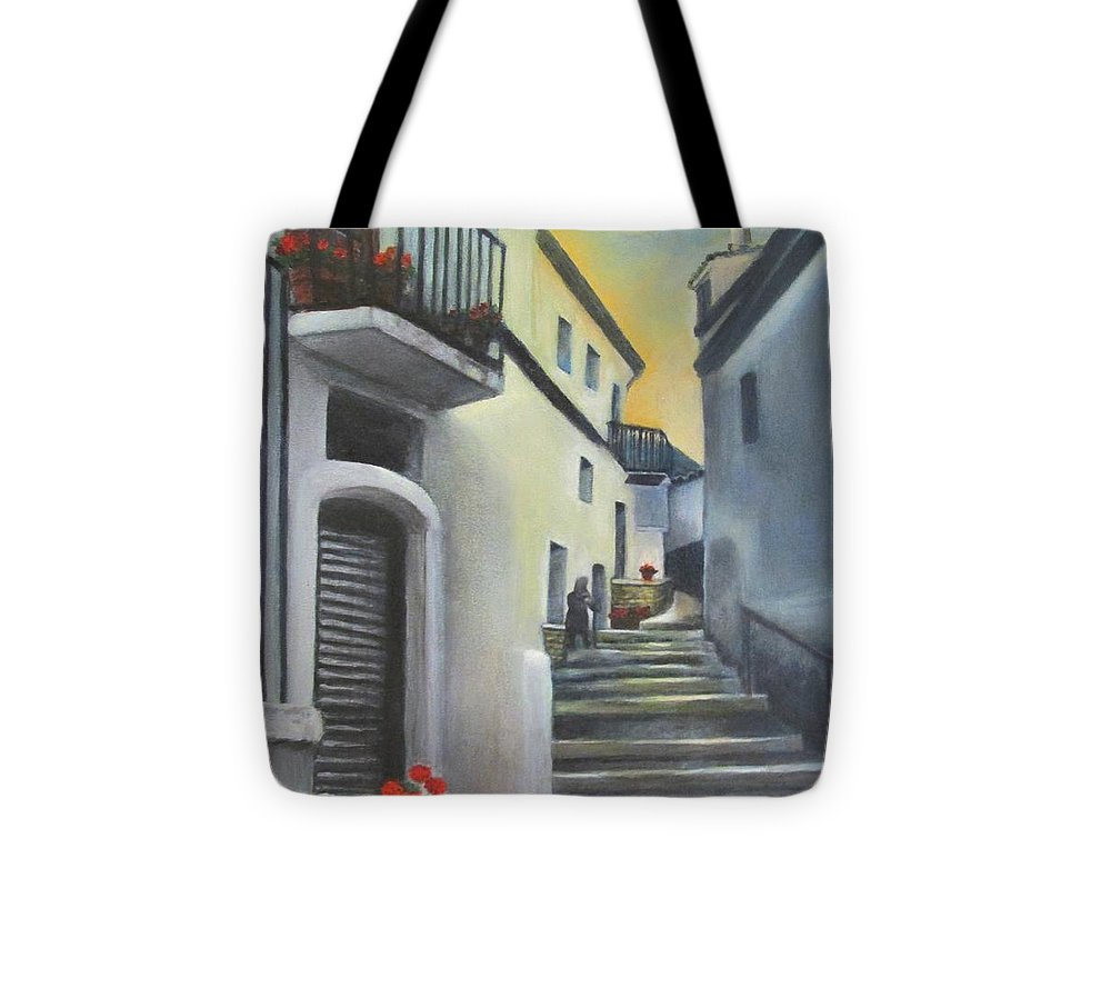 Street Scene Tote Bag featuring the painting On The Way To Mamma's House In Castelluccio Italy by Lucia Grilletto