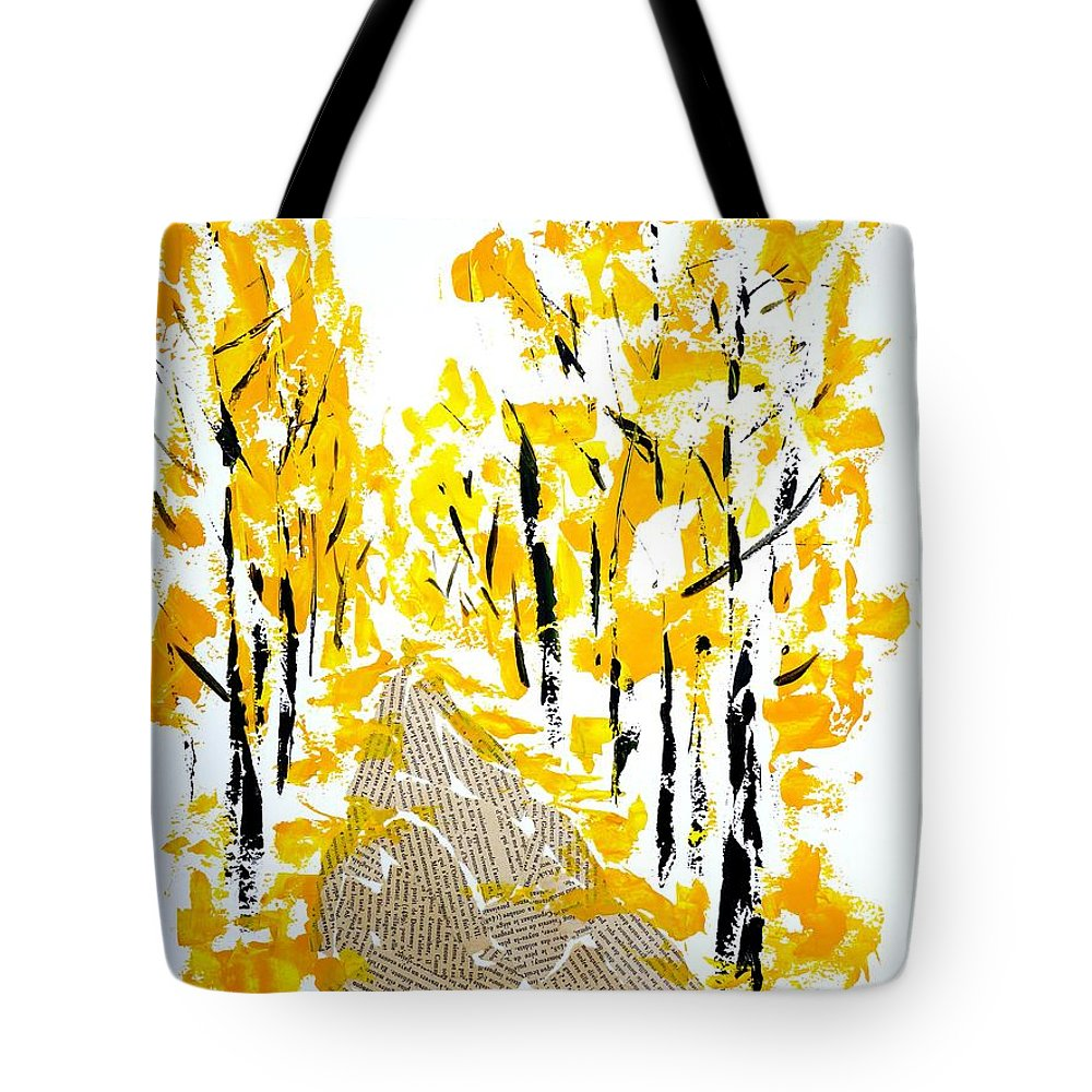 Mixed-media Tote Bag featuring the painting On The Way To School by Cristina Stefan