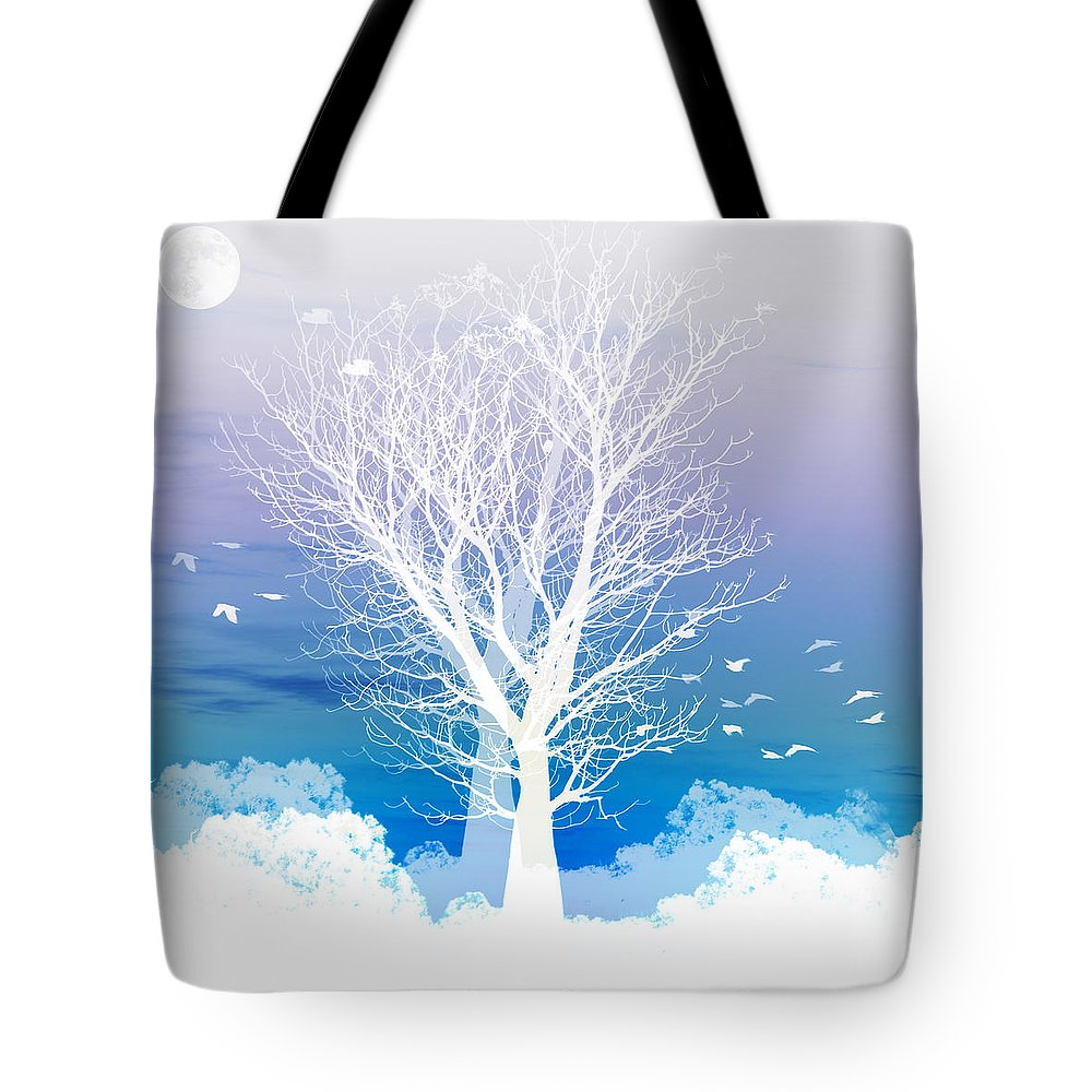 Tree Tote Bag featuring the photograph Once upon a moon lit night... by Holly Kempe