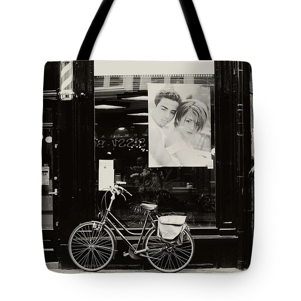 Street Photography Tote Bag featuring the photograph One Bike For Two. Trash Sketches From The Amsterdam Streets by Jenny Rainbow