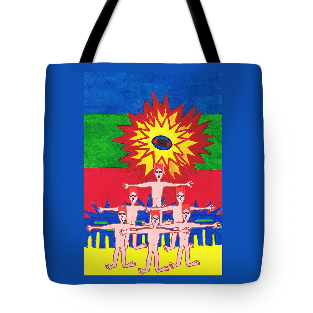 Science Fiction Tote Bag featuring the mixed media One Eye For Everyone.mexico by Strangefire Art    Scylla Liscombe