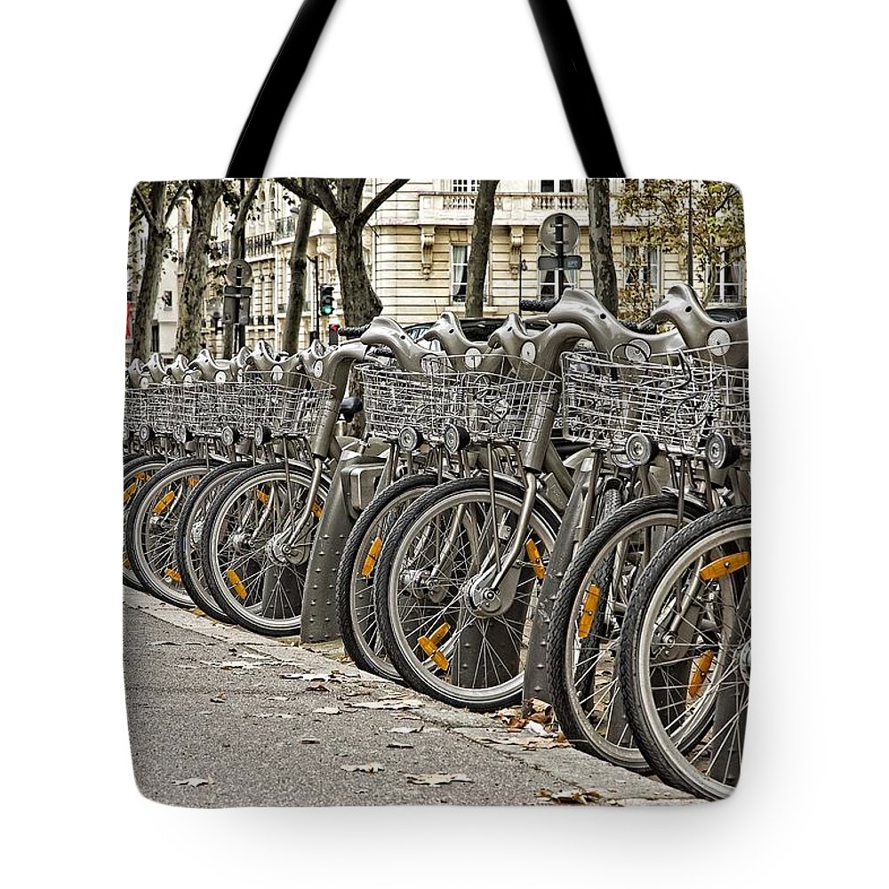 Bicycles Tote Bag featuring the photograph One Fine Morning In Paris by Hany J