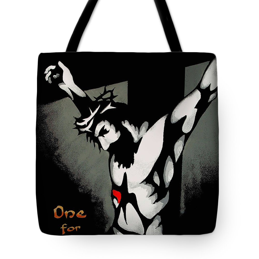 Dale Loos Tote Bag featuring the painting One For All by Dale Loos Jr