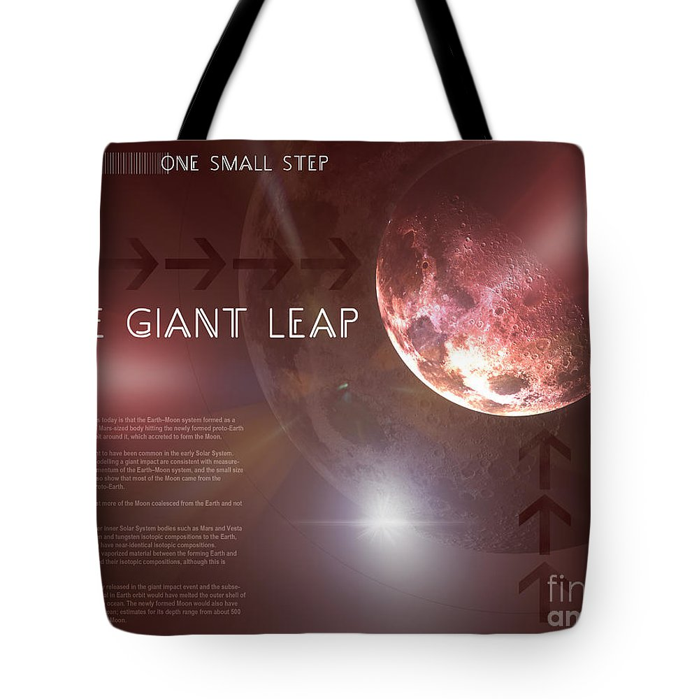Graphic Design Tote Bag featuring the digital art One Giant Leap by Phil Perkins