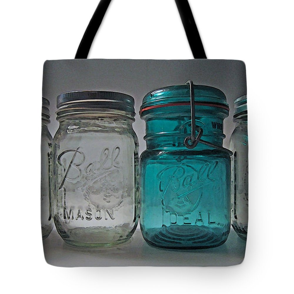 Ball Jar Tote Bag featuring the photograph One Is Different by Mary Bedy