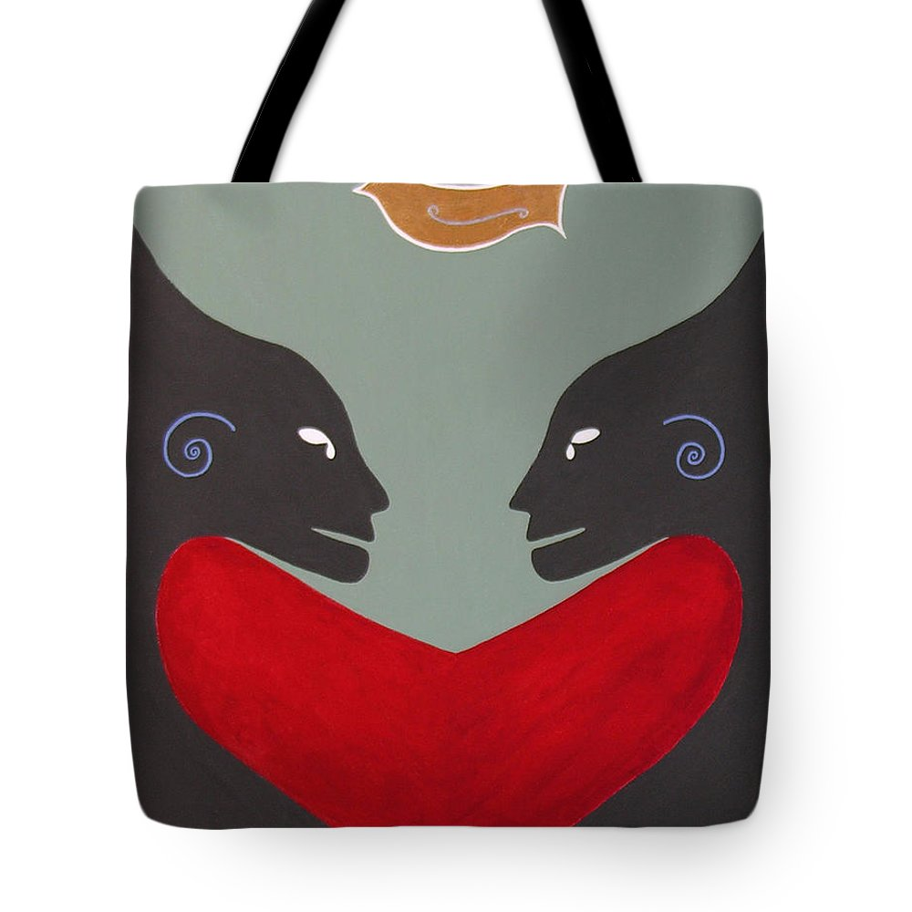 Kiss - Love - Forever - Valentine - Valentine's Day - Anniversary - Engagement - Marriage - Soulmates - Aura Of Two Lovers - Love Meditation - Tender Love - Eternity Embrace - Two Beings In Love - Amour Eternel - St Valentin - Gaga For Love - Amour Gaga - Twilight Spirits Tote Bag featuring the painting One Love One Heart by Elle Nicolai
