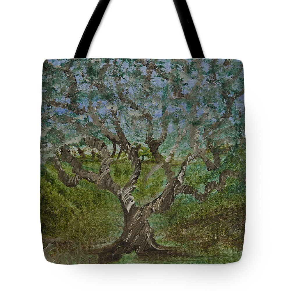 One Tree Tote Bag featuring the painting One Tree - 2 by Suzanne Surber