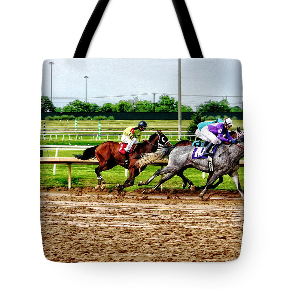 Horse Racing Tote Bag featuring the photograph One Two Three 026mx by Earl Johnson