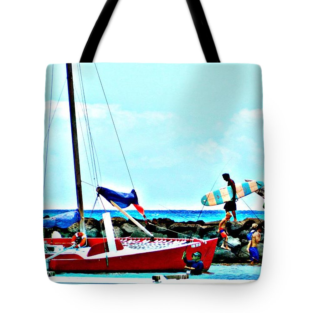 Surfer Tote Bag featuring the photograph Onlookers Delight by Jennifer Boisvert