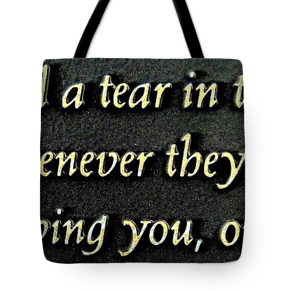 Plaque Tote Bag featuring the photograph Only Then by Ed Weidman