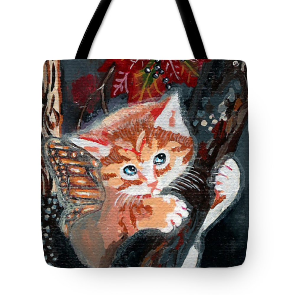 Catterfly Tote Bag featuring the painting Oops Fairy Kitten by Bronwen Skye