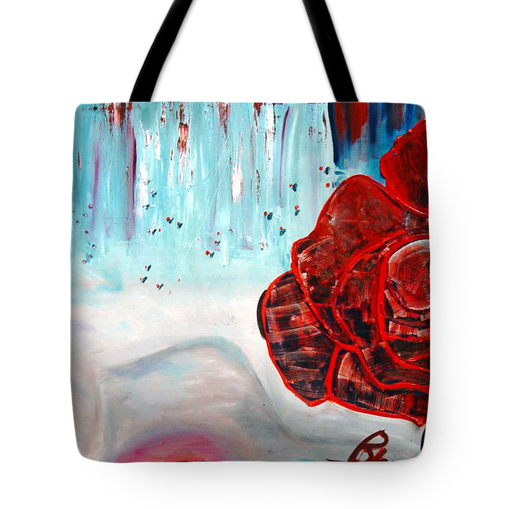 Landscape Tote Bag featuring the painting Op And Rose by Peggy Blood