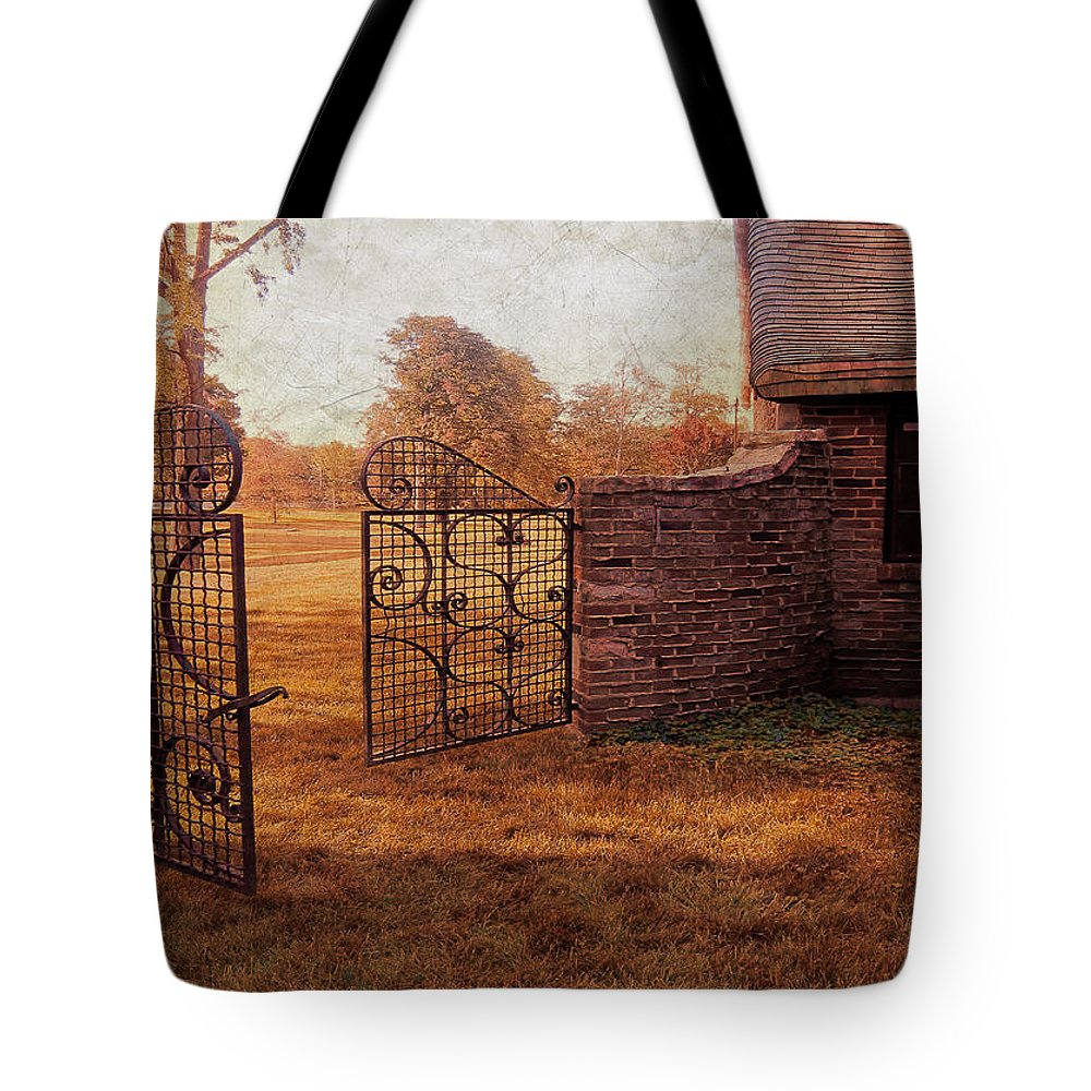 House Tote Bag featuring the photograph Open Gate By Cottage by Jill Battaglia