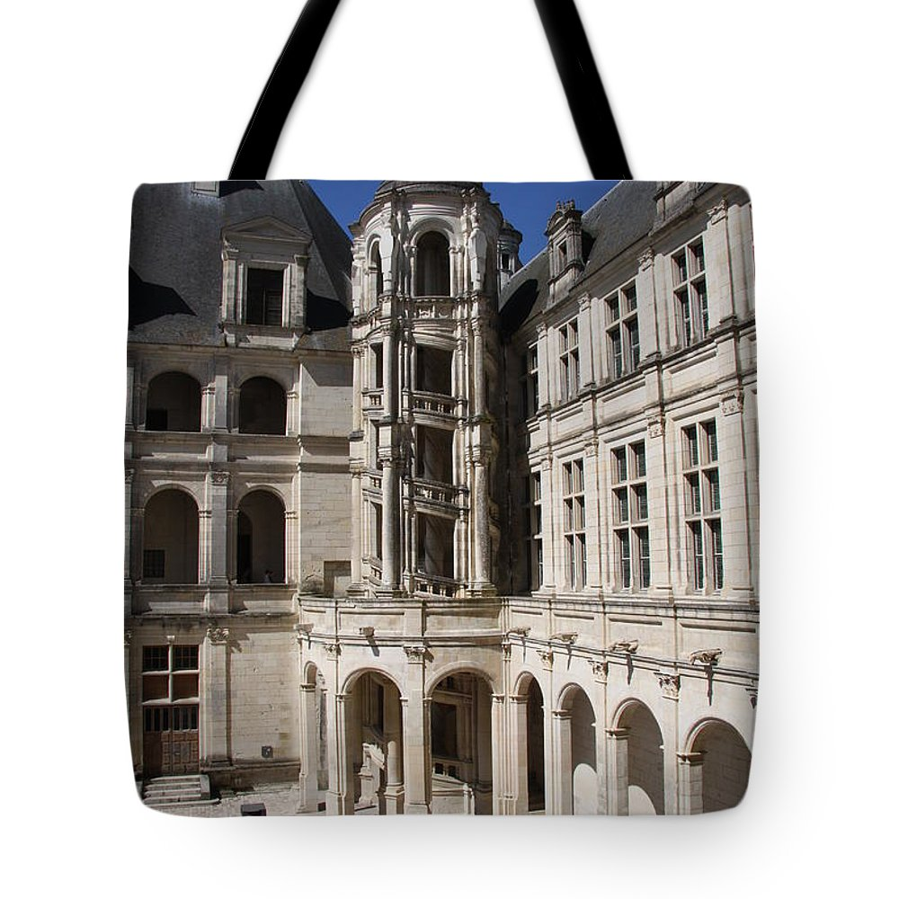 Palace Tote Bag featuring the photograph Open Staircase Chateau Chambord - France by Christiane Schulze Art And Photography