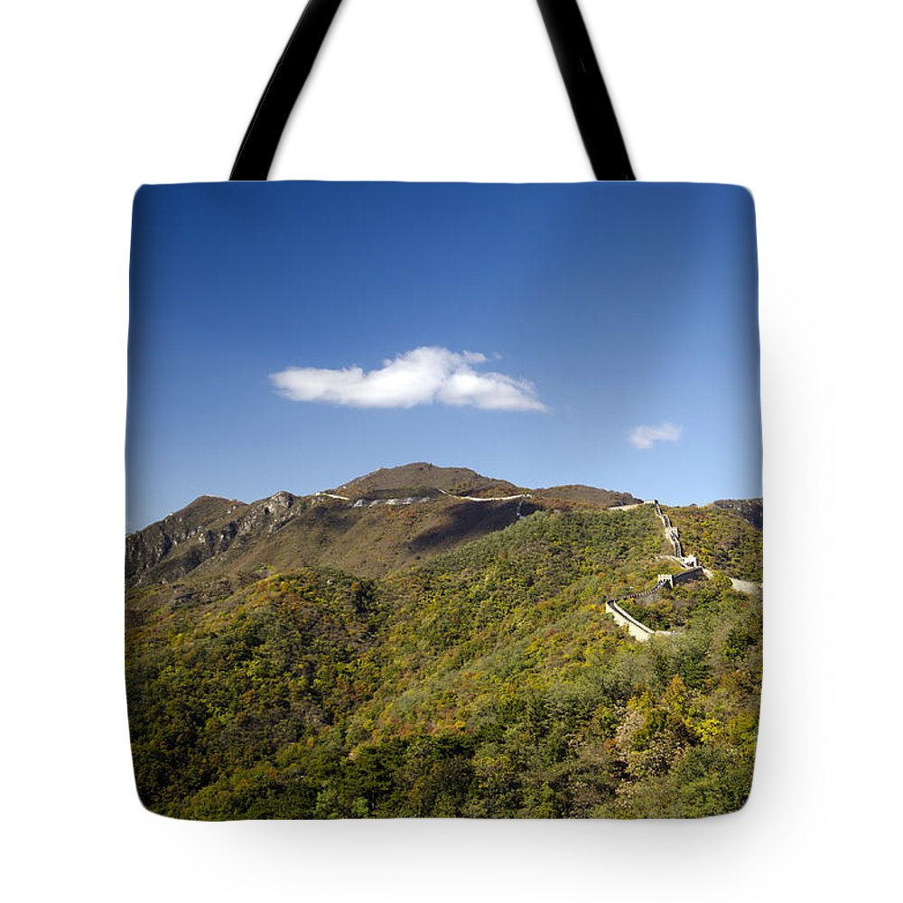 Autumn Mountains Tote Bag featuring the photograph Open View 2 Of The Great Wall Mutianyu Section 603 by Terri Winkler