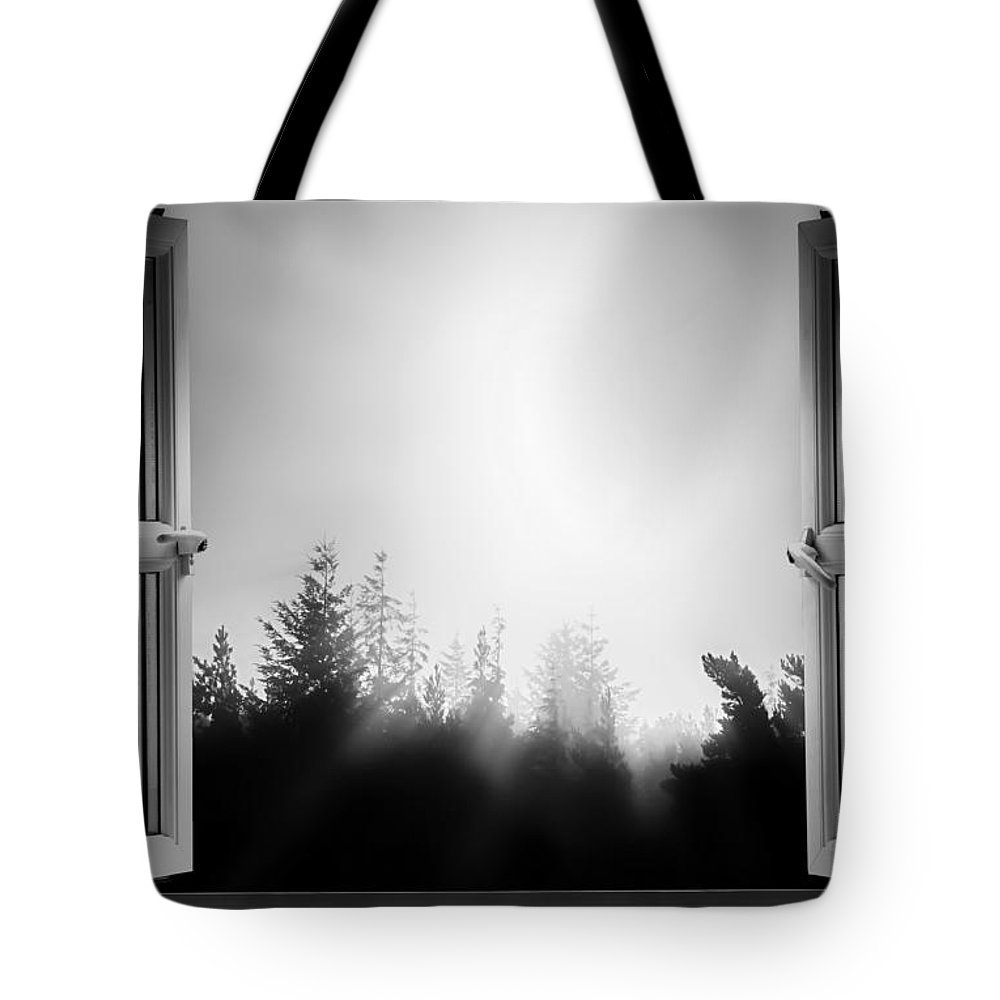 Window Tote Bag featuring the photograph Open Window At Night Bw by Simon Bratt Photography LRPS
