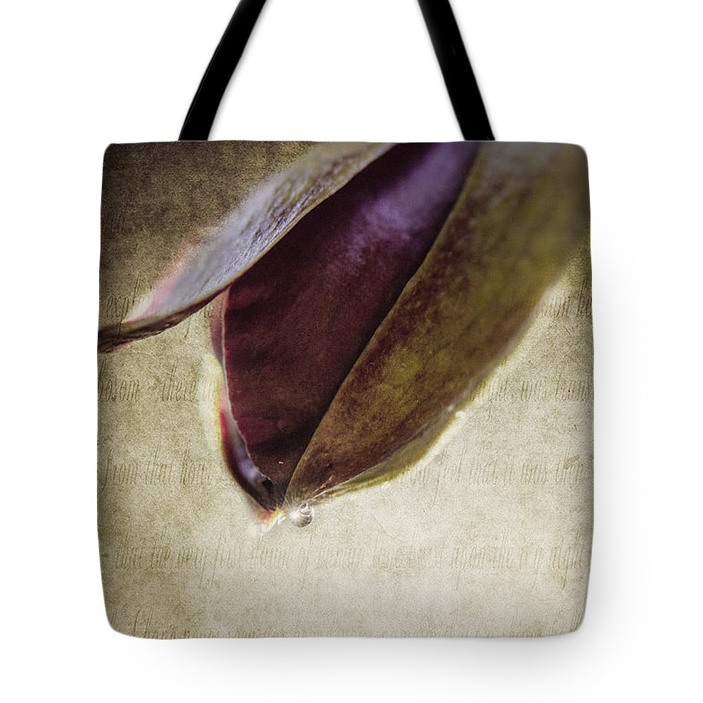 Bud Tote Bag featuring the photograph Opening Act by Judy Wolinsky