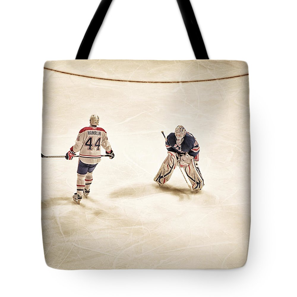 Hockey Tote Bag featuring the photograph Opponents by Karol Livote