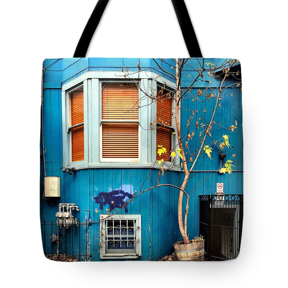 Blue House Tote Bag featuring the photograph Orange Blinds by Julie Gebhardt