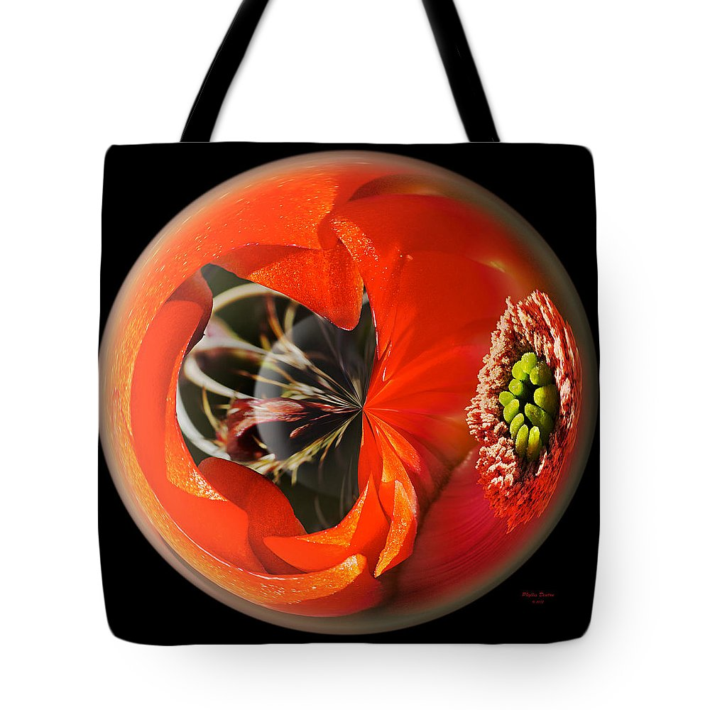 Globe Tote Bag featuring the photograph Orange Cactus Flower In A Globe by Phyllis Denton