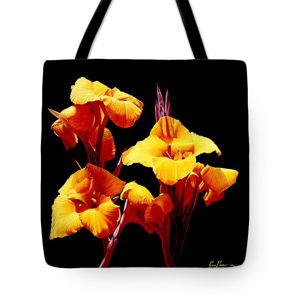Yellow Cannas Tote Bag featuring the painting Orange Cannas by Gary Hernandez