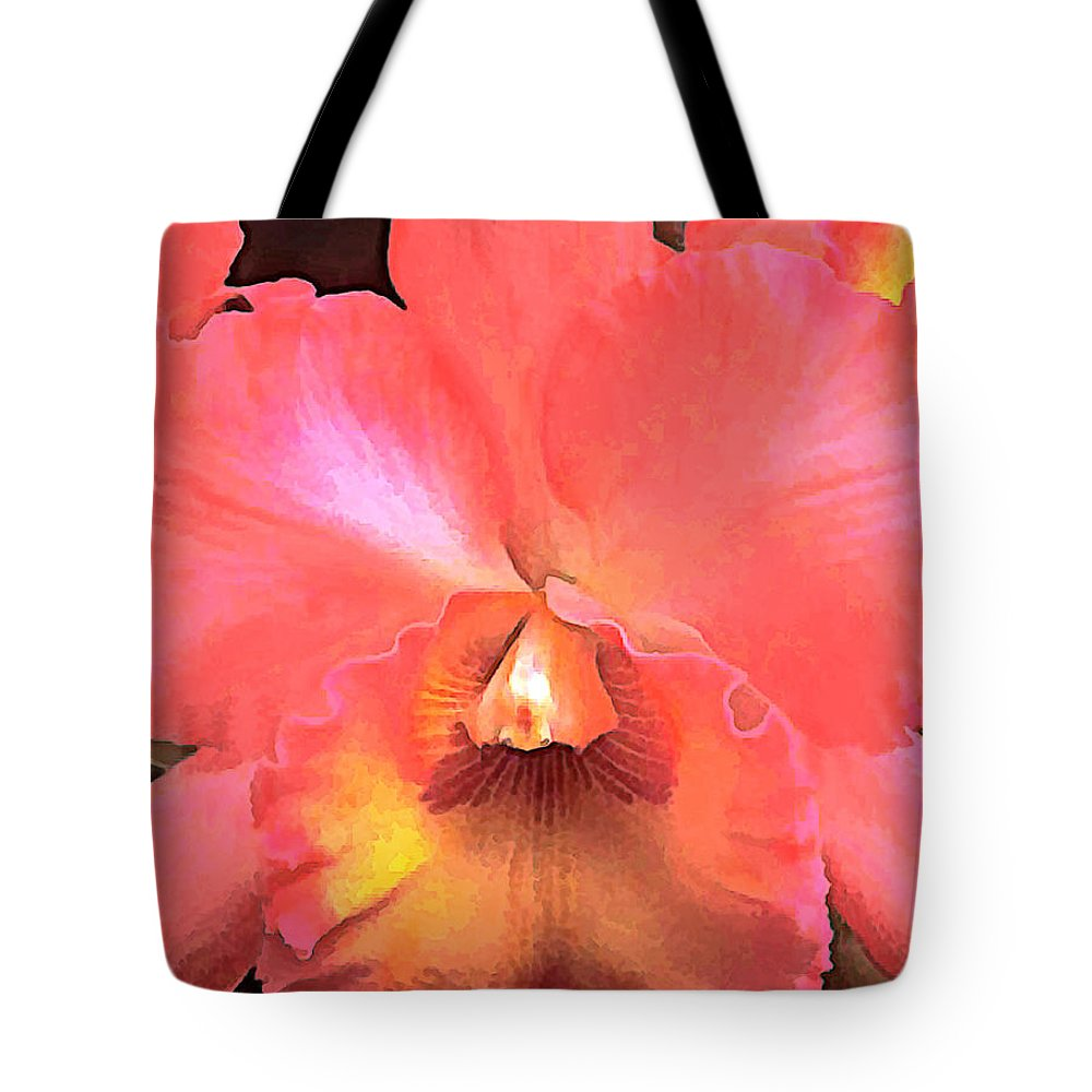 Orchid Tote Bag featuring the painting Orange Cattleya Orchid by Elaine Plesser