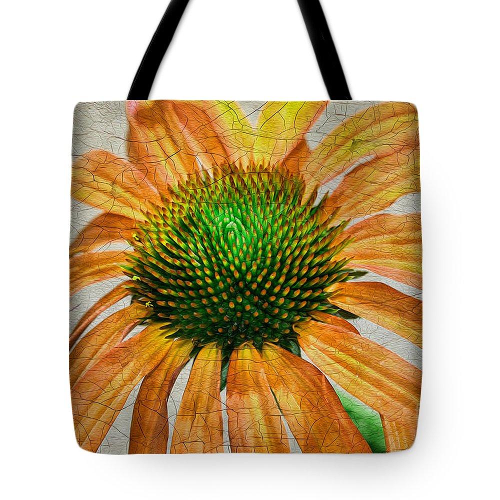 Flower Tote Bag featuring the photograph Orange Crackle by Deborah Benoit