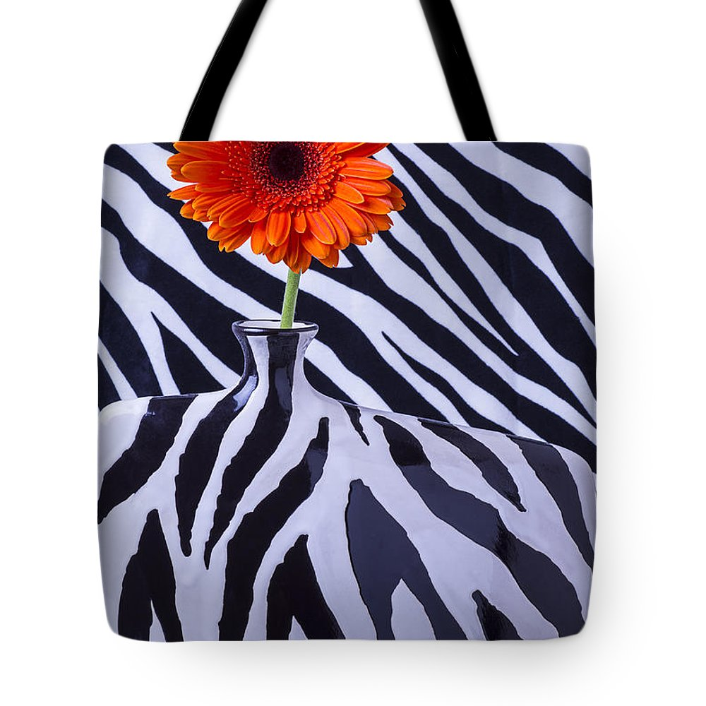 Orange Daisy Tote Bag featuring the photograph Orange Daisy In Zebra Vase by Garry Gay
