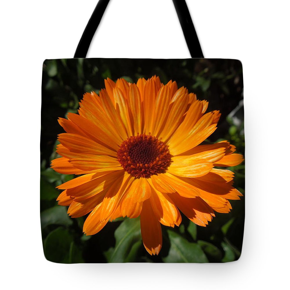 Orange Flower Tote Bag featuring the photograph Orange Flower In The Garden by Donna Jackson