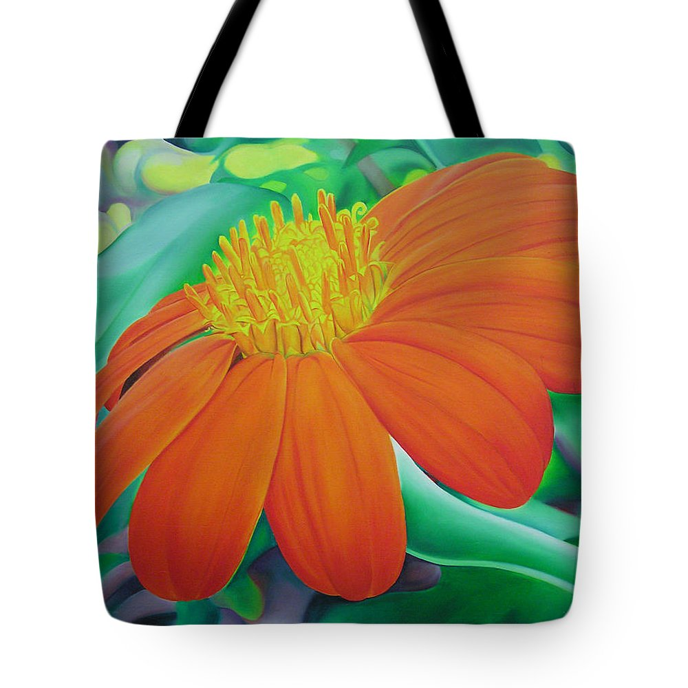 Flowers Tote Bag featuring the painting Orange Flower by Joshua Morton